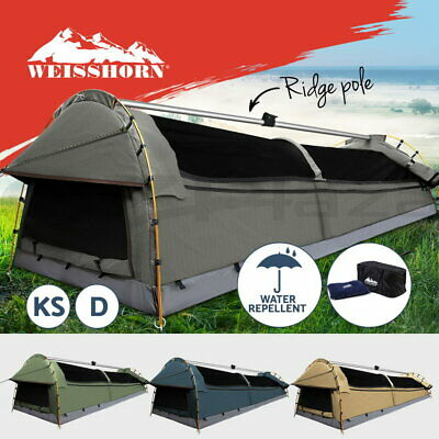 WEISSHORN Double King Single Camping Swags Free Standing Canvas Dome Tent Kings