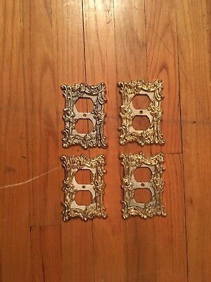 Set of 4 Vintage Brass Outlet Covers