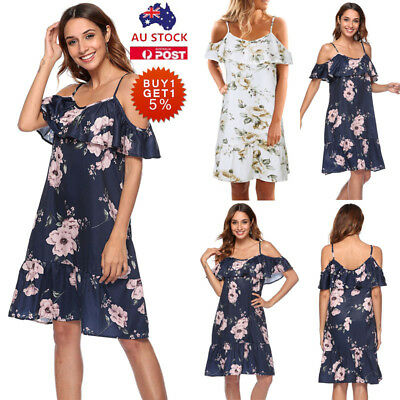 Women Floral Strappy Cold Shoulder Dress Summer Holiday Beach Party Sundress