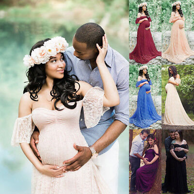Pregnant Women Off Shoulder Maternity Lace Maxi Dress Photography Props Shoot