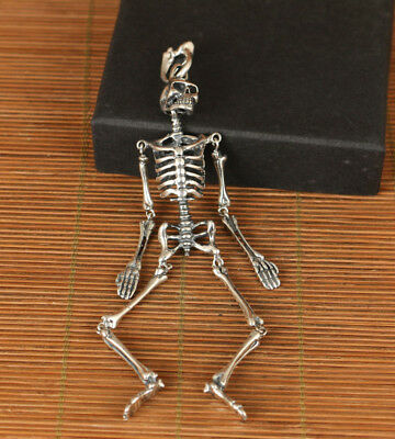 sterling silver 925 ancient ways McQueen activity skeleton pendant netsuke art