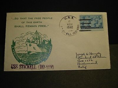 USS STICKELL DD-888 Naval Cover 1946 SADWORTH Cachet