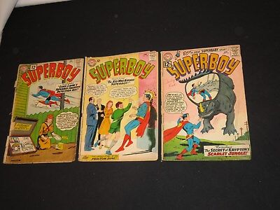 3 OLD 1960s SUPERBOY DC COMIC BOOKS #93,102,104 DINOSAUR  COVER READING ISSUES
