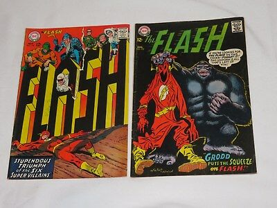 Old FLASH #172 #174 Comic book BLACK COVER 1967 DC COMICS Grodd