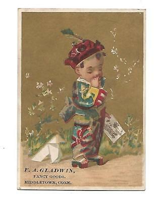E A Gladwin Fancy Goods Middletown Conn Chinese Boy Origami Vict Card c1880s