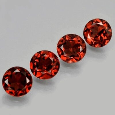 4 Pc LOT OF 5x5mm ROUND FACETED NATURAL EARTH MINED RED GARNET GEMSTONE