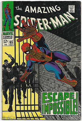 """Dated 1968. """"The AMAZING SPIDER-MAN"""" Marvel comic Vol.1 #65. VG+"""