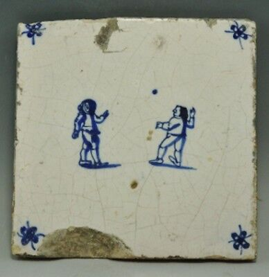 17Th Century Delph Tile Depicting Two Children Throwing A Ball (932H)