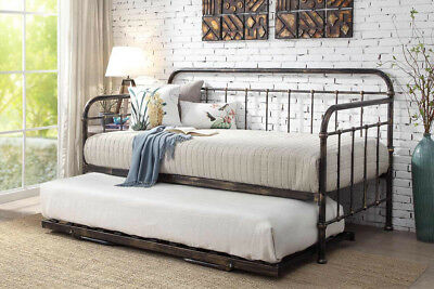 Harlow Brushed Antique Metal Classic Victorian Hospital Style Day Bed & Trundle