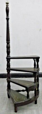 Antique Victorian Solid Mahogany Dark Wood 4x Tier Library Step Ladder - H51