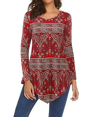 SOLERSUN Womens Floral Tunic Shirts Long Sleeve Tunic Top with Pocket 0e32af2ad