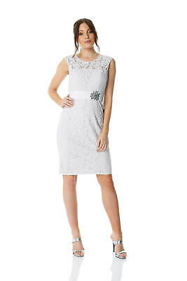 Roman Originals Women Lace Embellished Trim Dress - Ladies