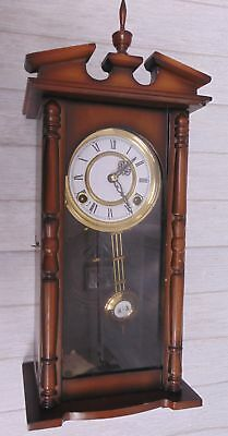 Small Vintage WALL CLOCK Wooden Frame Pendulum Wind-Up Function Chimes - I05