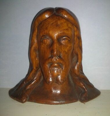 18th century carved oak head of Jesus Christ
