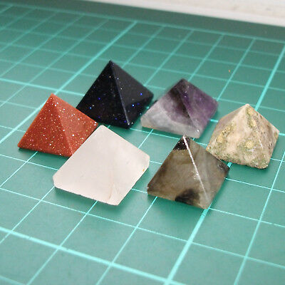 Auction 6 x Crystal Stone Genuine Polished Gemstone Pyramids