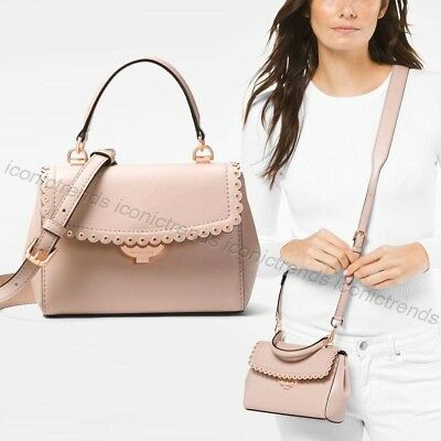 2e890a47e9522 NWT 🌸 Michael Kors Ava Extra Small XS Scalloped Leather Crossbody Soft Pink