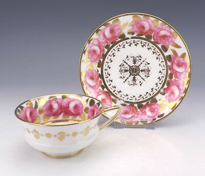 Antique Coalport Porcelain - Hand Painted Rose & Gilt Cup & Saucer