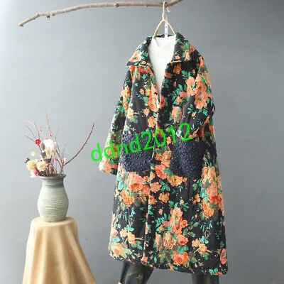 2019 Women's Linen Pocket Long Floral Retro Qipao Button Jacket Coat Ethnic New