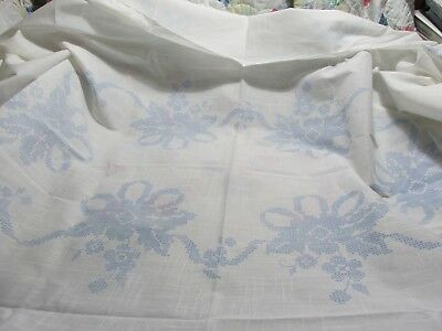 """52"""" X 68"""" Floral Stamped Table Cloth & 4 Napkins for Cross Stitch and Embroidery"""