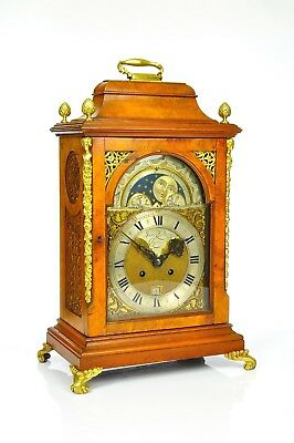 Antique German  8 Day Bracket Clock / Brass / Moon Phase / Date / approx. 1890