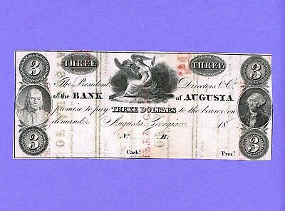1800's $3 Bank of AUGUSTA PRINTED OVER 10,25 50 CENT NOTES HIGHER GRADE NOTE