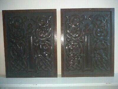 Good Pair 18th Century Oak Panels Carved Mythical Beasts Lions