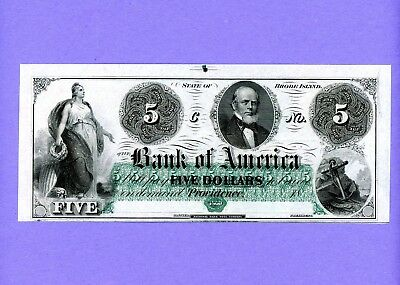 1860's $5 Bank of America Providence Rhode Island Obsolete Rare Note GEM UNC