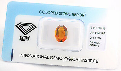 Natural Citrine 2,61ct Deep Brownish Orange Oval Mixed Cut IGI Certificat sealed
