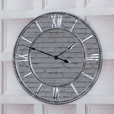 55Cm Round Vintage Mirrored Wall Clock Home Decor Roman Numerals Silver Style