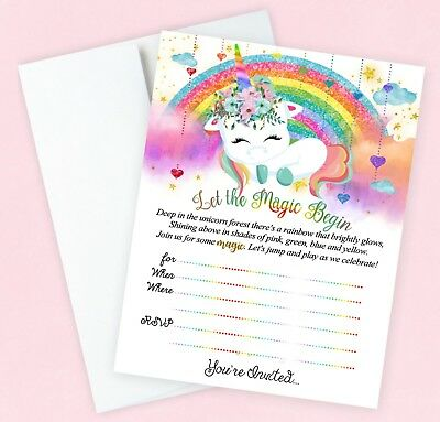 Unicorn Birthday Invitations Party Invites Rainbow Large