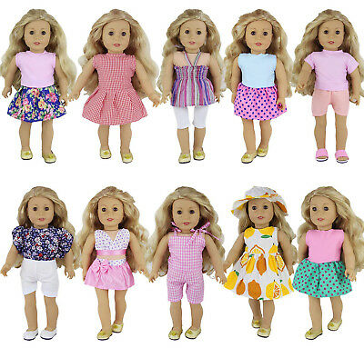 For America 18 inch Girl Doll 10Sets Daily Clothes Oufits Skirt Mix Party Dress