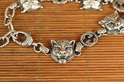 100% 925 silver used fashion tiger girl  Bracelet Cool gift