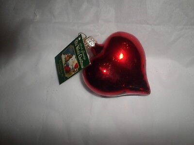 Old World Christmas Valentine Large Shiny Heart Red Glass Ornament NWT  2001