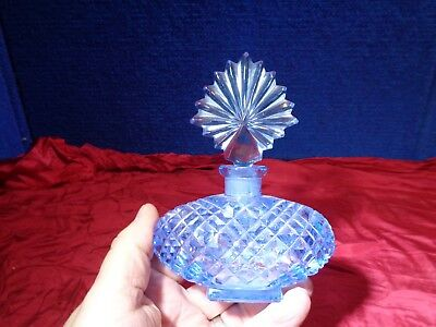 Vintage Czech Decorative Blue Glass Perfume Bottle