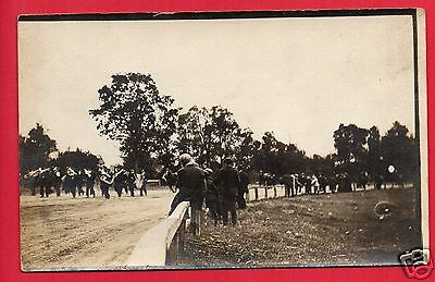 Rppc Band Parade On Race Track  Brass Music Instruments  Trumpet  Wood Fence