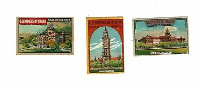 3 Old Austria SOLO c 1900s glazed matchbox labels depicting Glimpses of India.