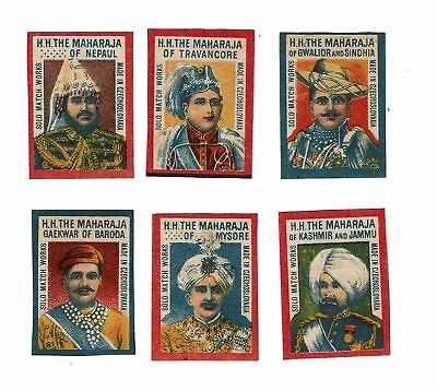 Set of 6 Old Czechoslovakia c1900s matchbox labels depicting H.H The Maharaja.