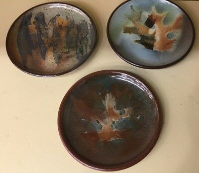 """Set of 3 Vintage Esther SILLS Red Clay ART Pottery Redware Bread Plates 6"""""""