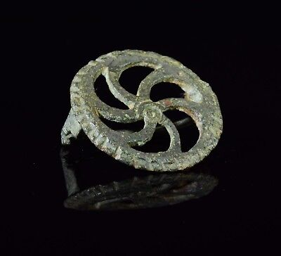 "Ancient Roman Bronze ""wheel Of Fortune"" Type Brooch / Fibula   - T124"