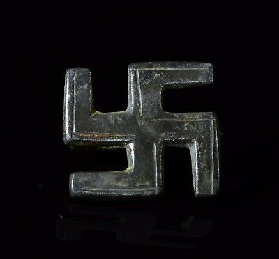 Ancient Roman Bronze Swastika Shaped Brooch / Fibula   - T126