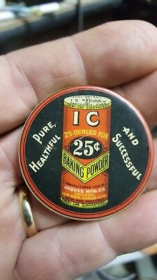 Ic Baking Powder Advertising Celluloid Pocket Mirror  Store