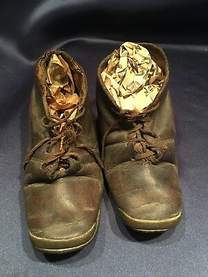 Pair Antique Victorian Child's Shoes Leather With Brass Toes Tie Up Well Worn