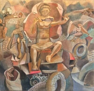 Very Fine 1930's Period French Cubist/ Surrealist Signed Oil - Fisherman Quay