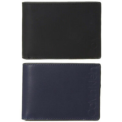 8488c82f4b Calvin Klein CK Men's Premium Leather Slimfold Embossed Logo Bifold Wallet  79815