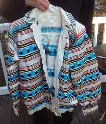Scarce Seminole Native American Jacket Shirt White Satin