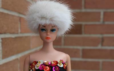 ~Mahogany Brown Mink Fur Hat for Vintage Fashion Queen Barbie dolls~by dimitha~