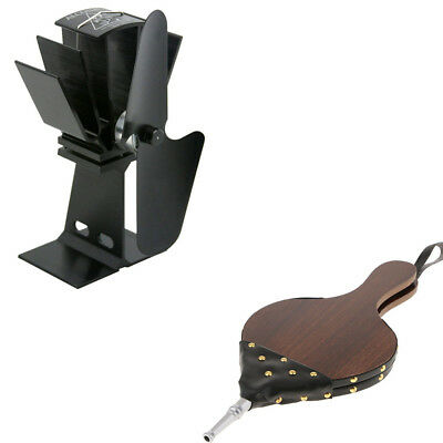 Fireplace BBQ Campfire Hand Powered Bellow & 2 Blade Log Fireplace Stove Fan
