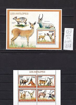 Togo   2010  MNH  two  s/sh  .  Animals  Antilopes.See scan.