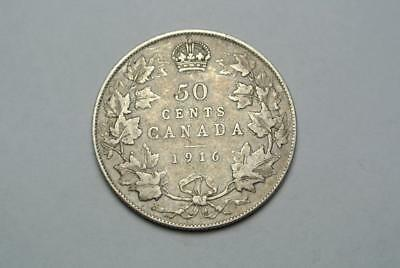 1916 Canada 50 Fifty Cent Coin, Fine+ Condition - C6654