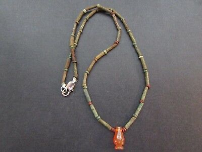 NILE  Ancient Egyptian Lotus Bud Amulet Mummy Bead Necklace ca 1000 BC
